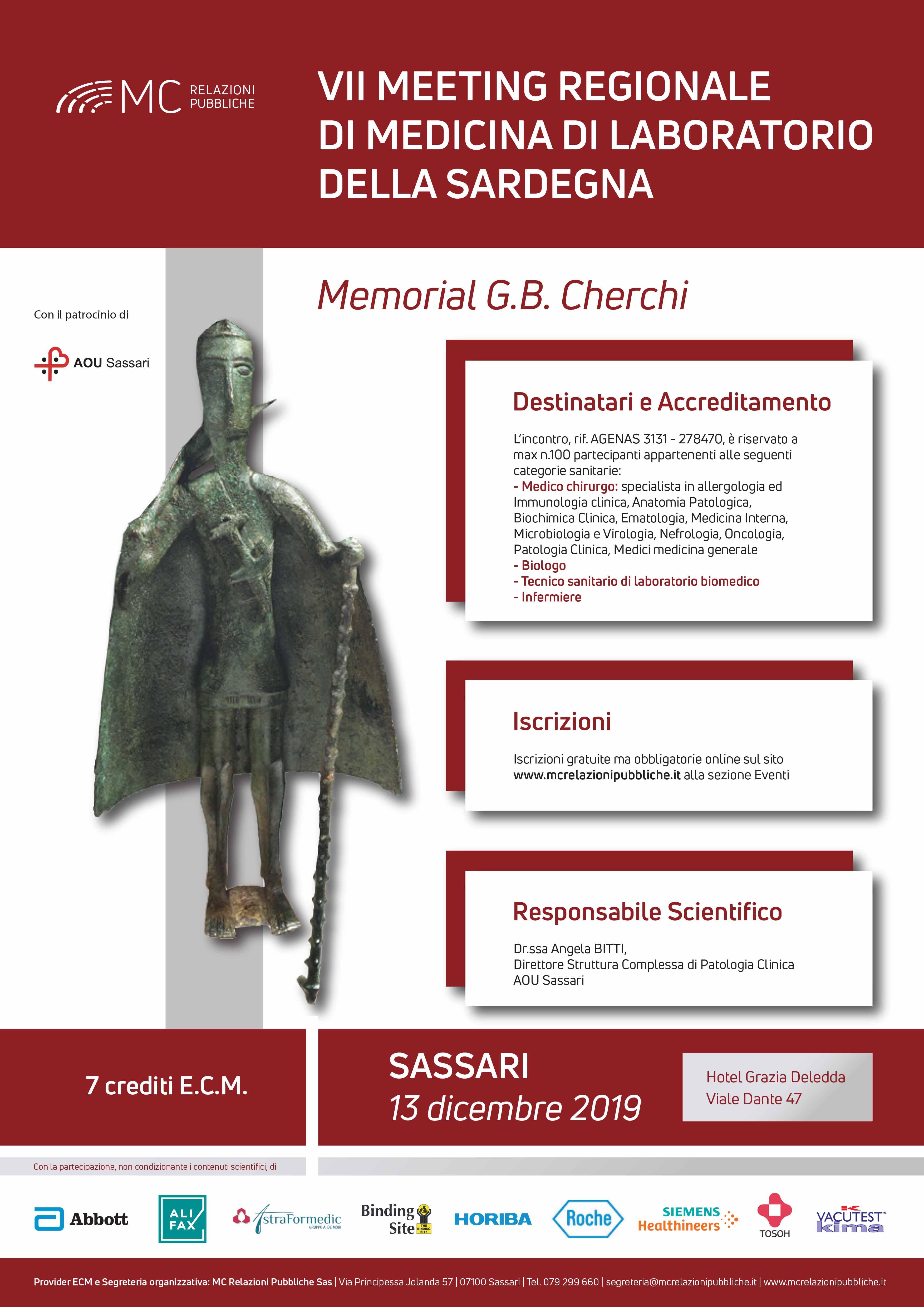VII MEETING REGIONALE DI MEDICINA DI LABORATORIO DELLA SARDEGNA  MEMORIAL G.B. CHERCHI